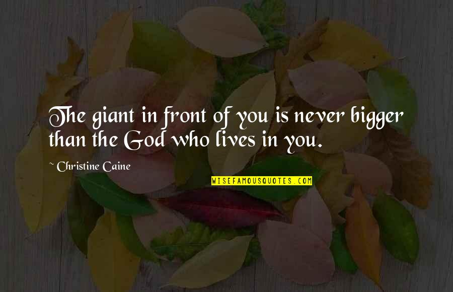Sun In My Hair Quotes By Christine Caine: The giant in front of you is never