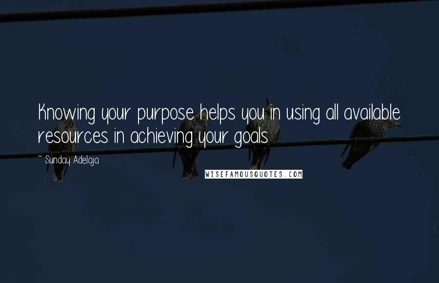Sunday Adelaja quotes: Knowing your purpose helps you in using all available resources in achieving your goals