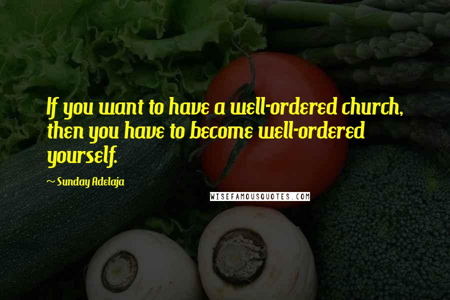 Sunday Adelaja quotes: If you want to have a well-ordered church, then you have to become well-ordered yourself.