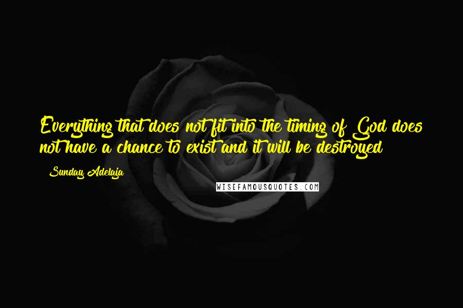Sunday Adelaja quotes: Everything that does not fit into the timing of God does not have a chance to exist and it will be destroyed