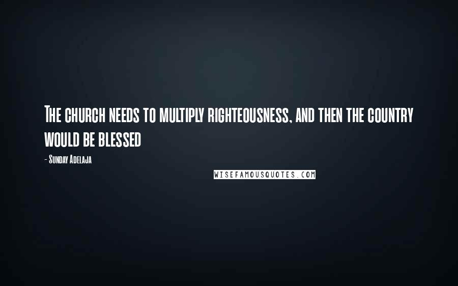 Sunday Adelaja quotes: The church needs to multiply righteousness, and then the country would be blessed