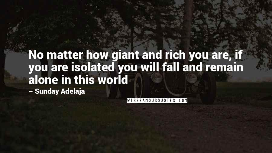 Sunday Adelaja quotes: No matter how giant and rich you are, if you are isolated you will fall and remain alone in this world