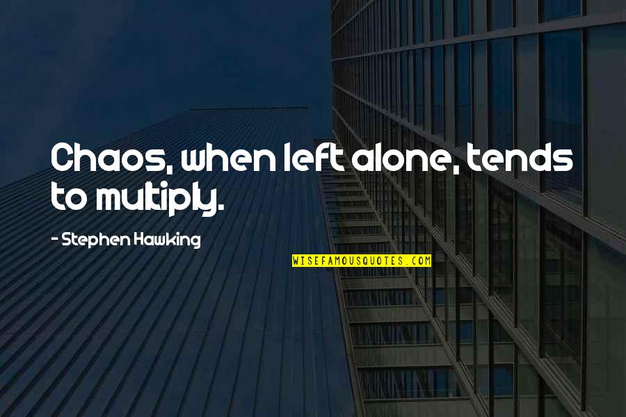 Sunday Funday Football Quotes By Stephen Hawking: Chaos, when left alone, tends to multiply.
