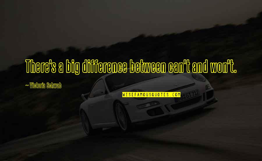 Sunday League Football Funny Quotes By Victoria Schwab: There's a big difference between can't and won't.