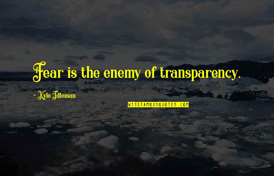 Sungard Quotes By Kyle Idleman: Fear is the enemy of transparency.