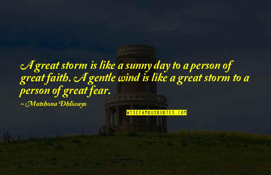 Sunny Day Quotes By Matshona Dhliwayo: A great storm is like a sunny day