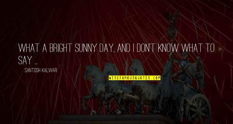 Sunny Day Quotes By Santosh Kalwar: What a bright sunny day, and I don't