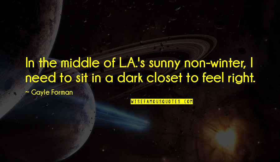 Sunny Winter Quotes By Gayle Forman: In the middle of L.A.'s sunny non-winter, I