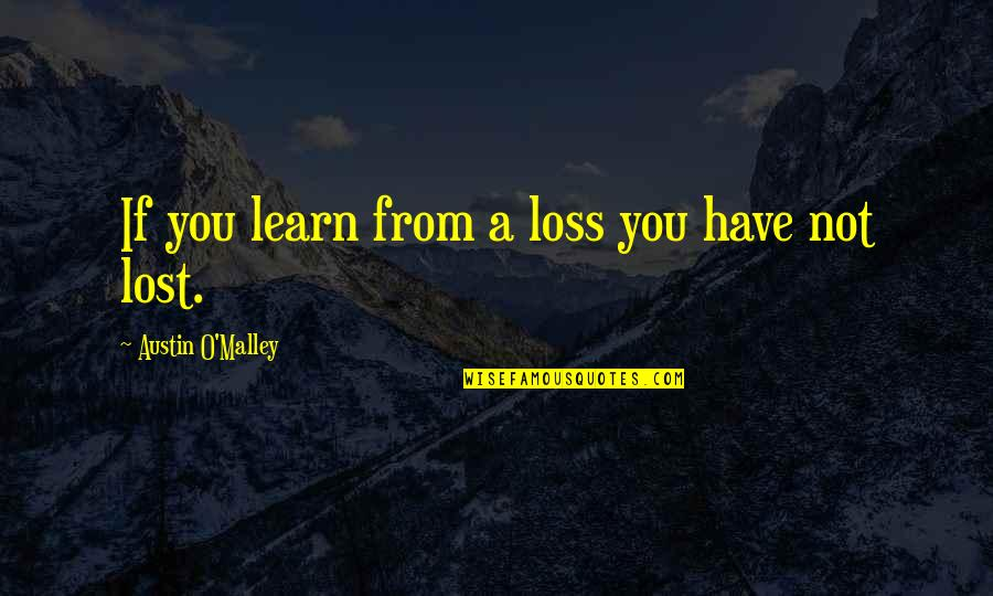 Sunset And Loss Quotes By Austin O'Malley: If you learn from a loss you have