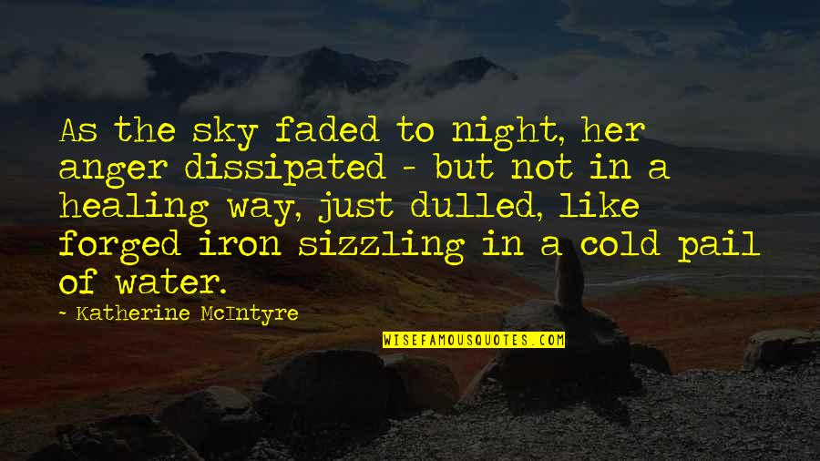 Sunset And Loss Quotes By Katherine McIntyre: As the sky faded to night, her anger