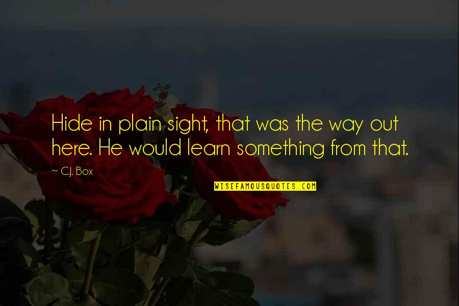 Superficial Relationships Quotes By C.J. Box: Hide in plain sight, that was the way