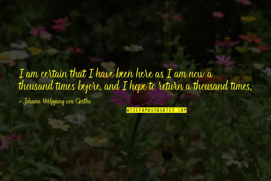 Support For Someone You Love Quotes By Johann Wolfgang Von Goethe: I am certain that I have been here