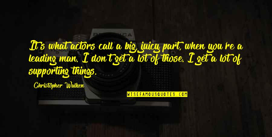 Supporting Each Other Quotes By Christopher Walken: It's what actors call a big, juicy part,