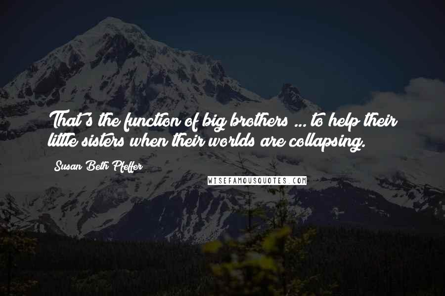 Susan Beth Pfeffer quotes: That's the function of big brothers ... to help their little sisters when their worlds are collapsing.