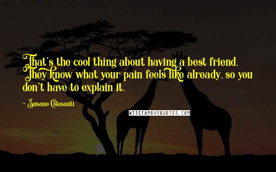 Susane Colasanti quotes: That's the cool thing about having a best friend. They know what your pain feels like already, so you don't have to explain it.