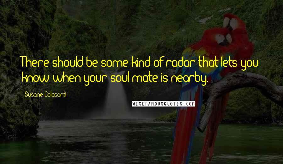 Susane Colasanti quotes: There should be some kind of radar that lets you know when your soul mate is nearby.