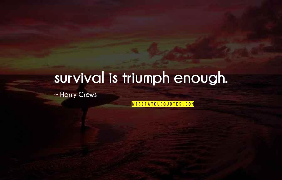 Sushi Love Quotes By Harry Crews: survival is triumph enough.