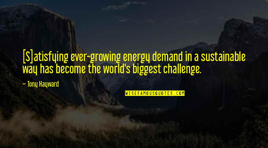 Sustainable Energy Quotes By Tony Hayward: [S]atisfying ever-growing energy demand in a sustainable way