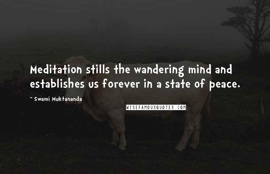 Swami Muktananda quotes: Meditation stills the wandering mind and establishes us forever in a state of peace.
