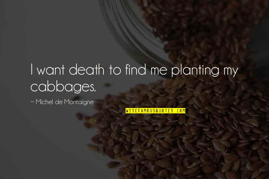 Sweaty Wisdom Quotes By Michel De Montaigne: I want death to find me planting my