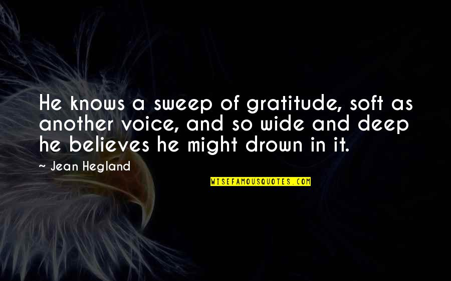 Sweep Quotes By Jean Hegland: He knows a sweep of gratitude, soft as