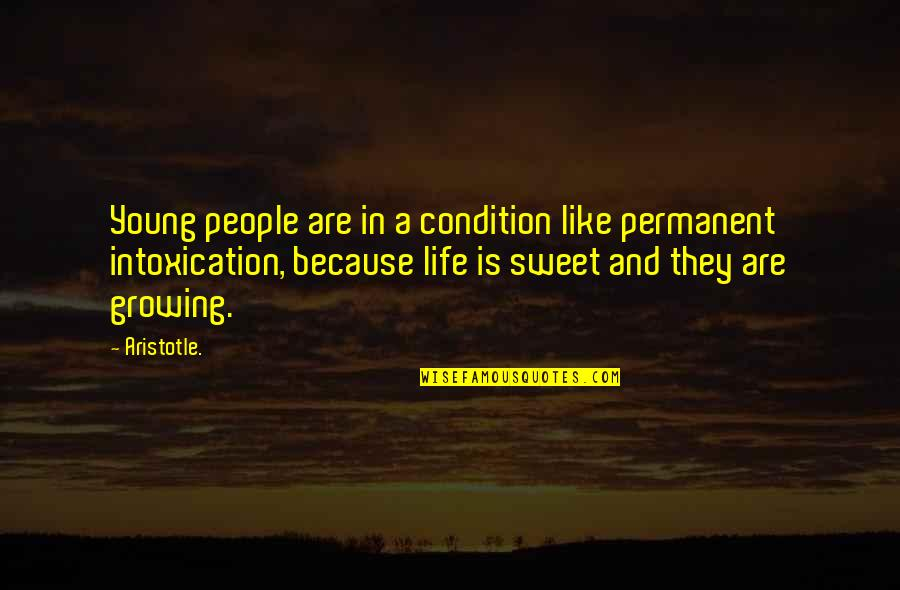 Sweet And Life Quotes By Aristotle.: Young people are in a condition like permanent