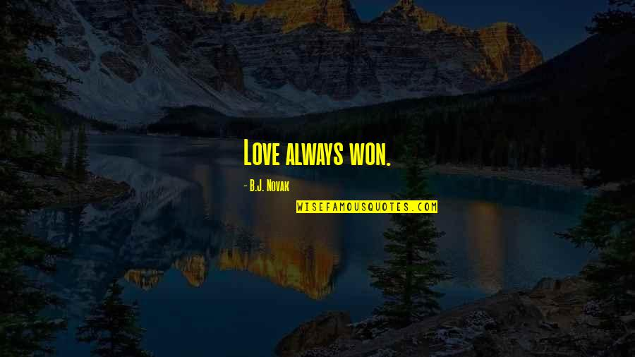 Sweet But Short Love Quotes By B.J. Novak: Love always won.