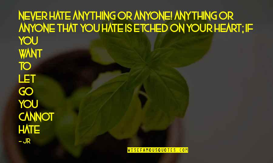 Sweety Quotes By JR: Never hate anything or anyone! Anything or anyone