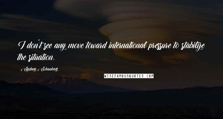 Sydney Schanberg quotes: I don't see any move toward international pressure to stabilize the situation.