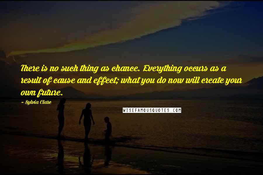Sylvia Clare quotes: There is no such thing as chance. Everything occurs as a result of cause and effect; what you do now will create your own future.