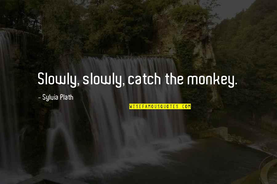 Sylvia Plath Best Quotes By Sylvia Plath: Slowly, slowly, catch the monkey.