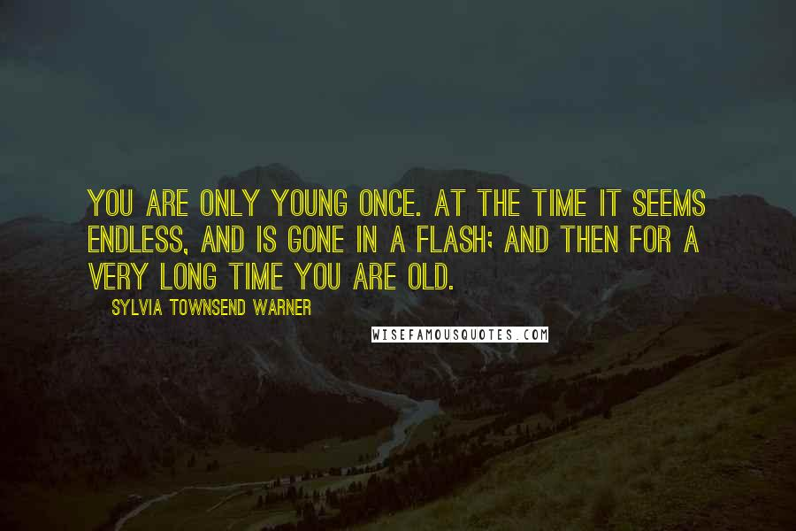 Sylvia Townsend Warner quotes: You are only young once. At the time it seems endless, and is gone in a flash; and then for a very long time you are old.