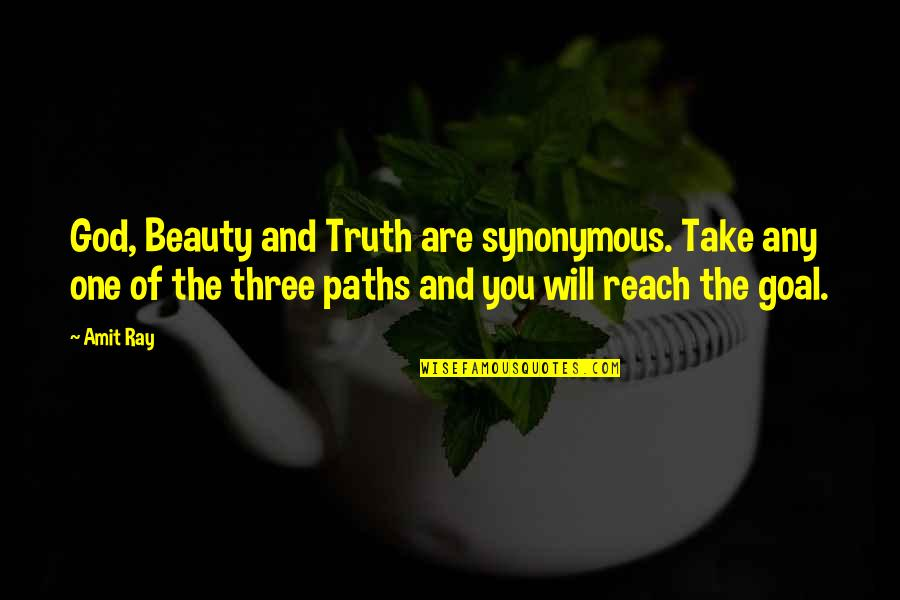Synonymous Quotes By Amit Ray: God, Beauty and Truth are synonymous. Take any