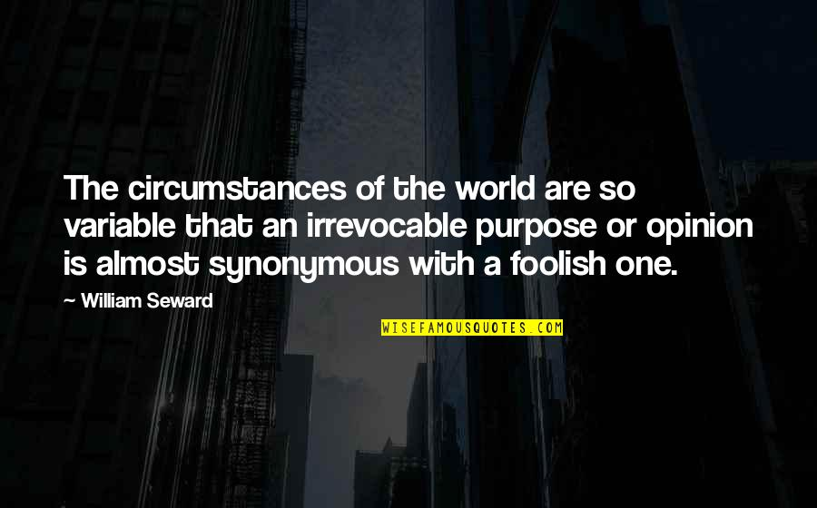 Synonymous Quotes By William Seward: The circumstances of the world are so variable