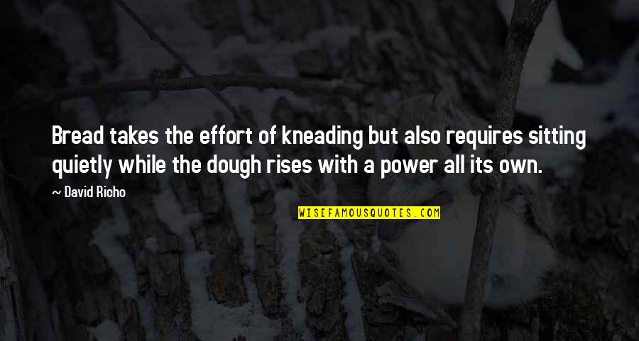 Synteresis Quotes By David Richo: Bread takes the effort of kneading but also