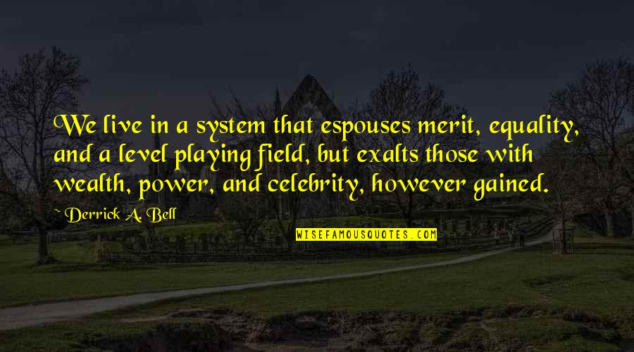 Systematic Oppression Quotes By Derrick A. Bell: We live in a system that espouses merit,