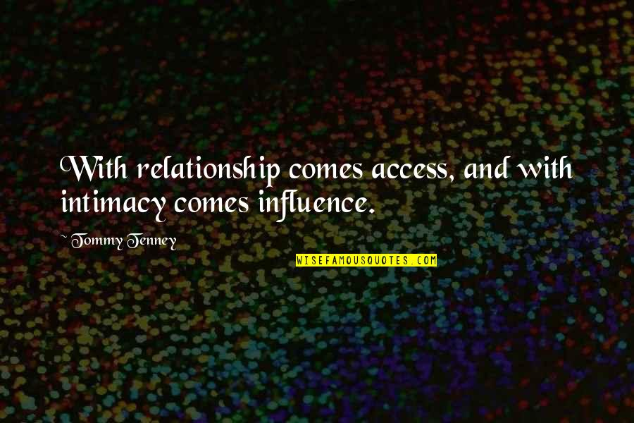 T F Tenney Quotes By Tommy Tenney: With relationship comes access, and with intimacy comes