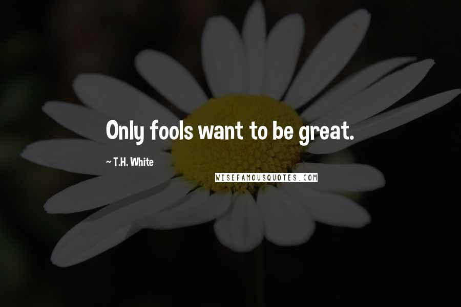 T.H. White quotes: Only fools want to be great.