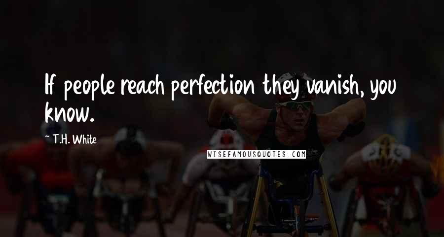 T.H. White quotes: If people reach perfection they vanish, you know.