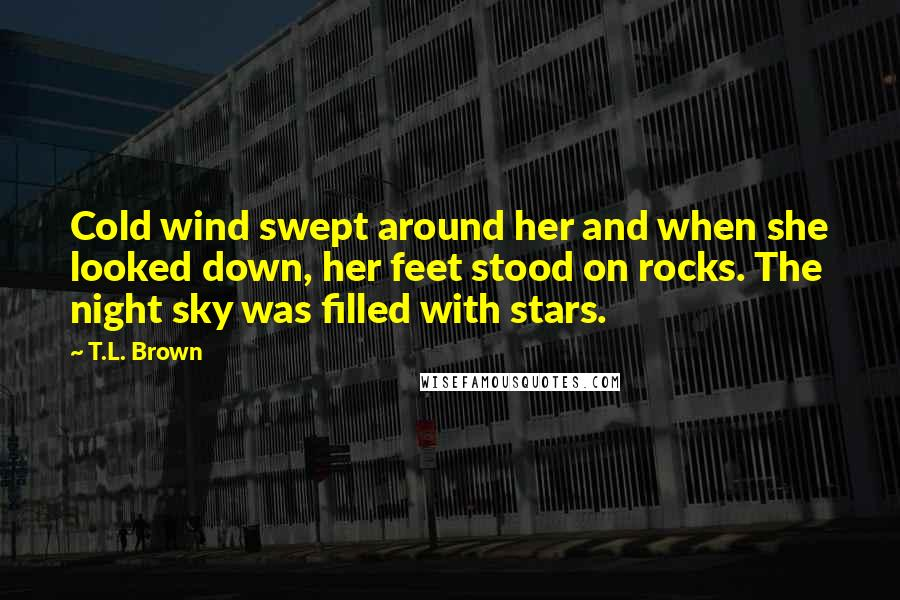 T.L. Brown quotes: Cold wind swept around her and when she looked down, her feet stood on rocks. The night sky was filled with stars.