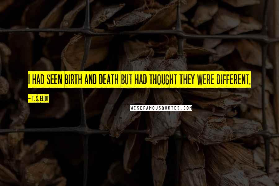 T. S. Eliot quotes: I had seen birth and death but had thought they were different.