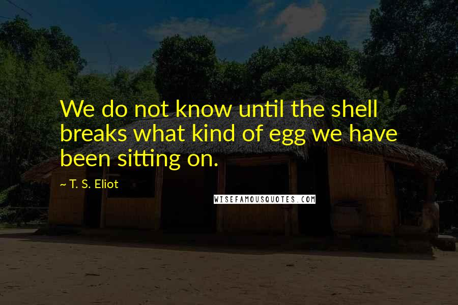 T. S. Eliot quotes: We do not know until the shell breaks what kind of egg we have been sitting on.