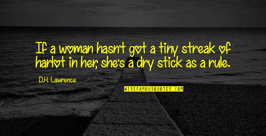 T.s. Lawrence Quotes By D.H. Lawrence: If a woman hasn't got a tiny streak