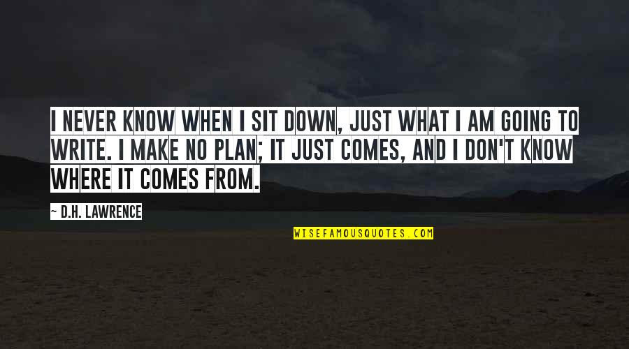 T.s. Lawrence Quotes By D.H. Lawrence: I never know when I sit down, just