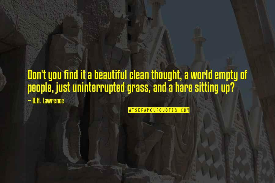 T.s. Lawrence Quotes By D.H. Lawrence: Don't you find it a beautiful clean thought,