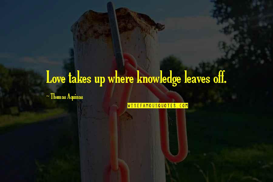 T-shirt Design Funny Quotes By Thomas Aquinas: Love takes up where knowledge leaves off.