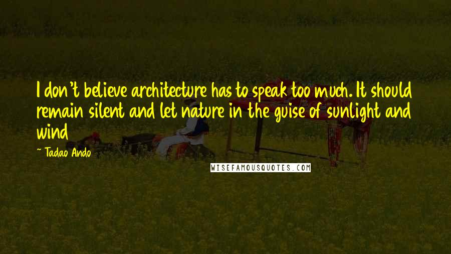 Tadao Ando quotes: I don't believe architecture has to speak too much. It should remain silent and let nature in the guise of sunlight and wind