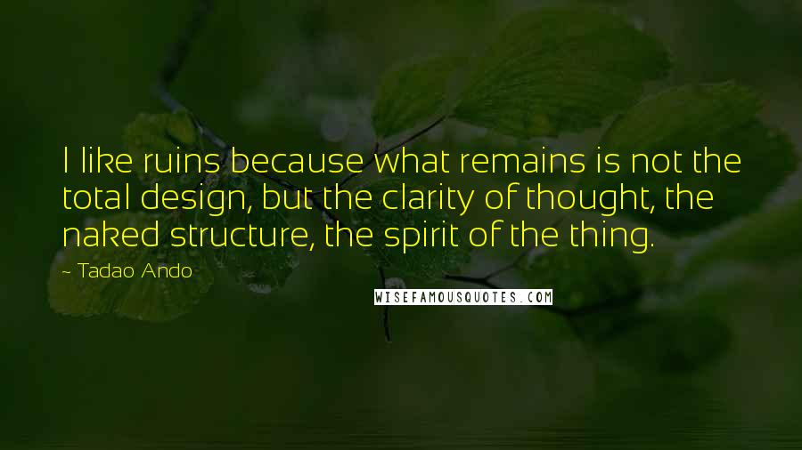 Tadao Ando quotes: I like ruins because what remains is not the total design, but the clarity of thought, the naked structure, the spirit of the thing.