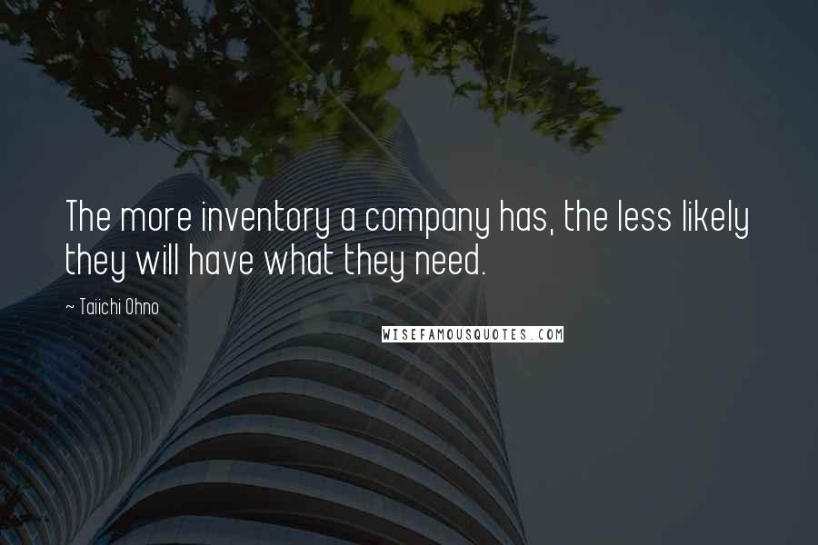 Taiichi Ohno quotes: The more inventory a company has, the less likely they will have what they need.