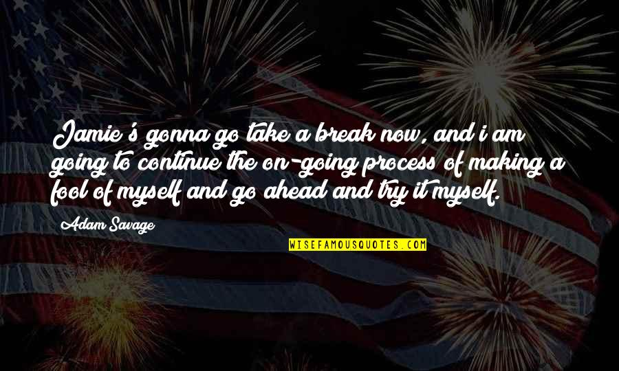Take A Break Quotes By Adam Savage: Jamie's gonna go take a break now, and